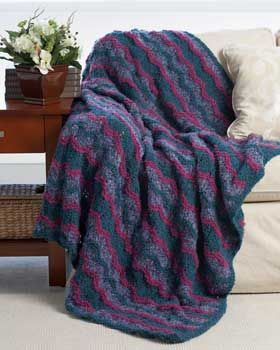 Textured knit waves in a comfy and cozy afghan. Shown in ...