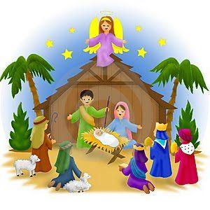 Merry christmas nativity scene. Clip art free