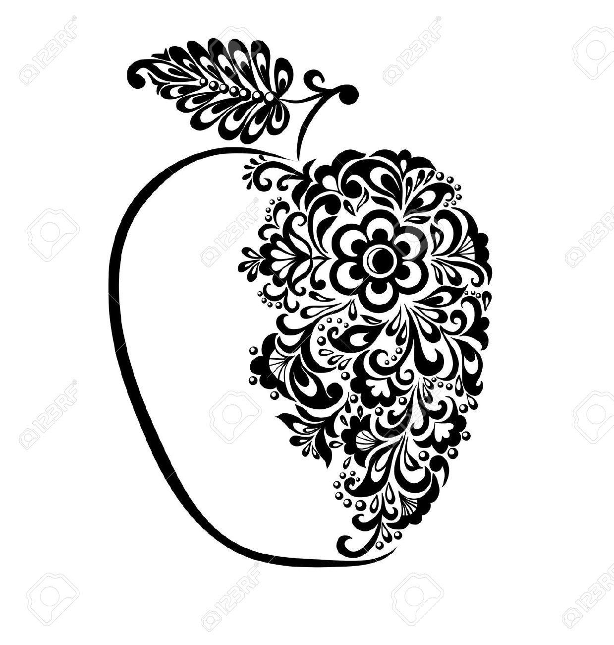 яблоко картинка черно-белая