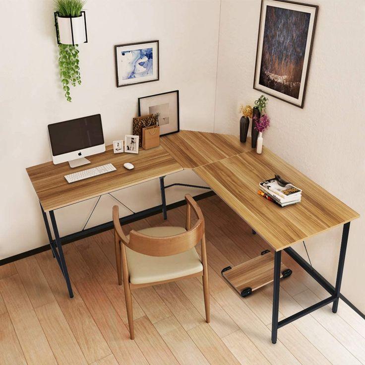Contemporary Homeoffice Desk: L Shaped Computer- Home Office Desk Large PC Laptop