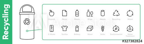 Pack of Waste and Garbage Related line editable stroke icons with Abstract Bin vector illustration. #Ad , #affiliate, #Related, #line, #editable, #Pack, #Waste