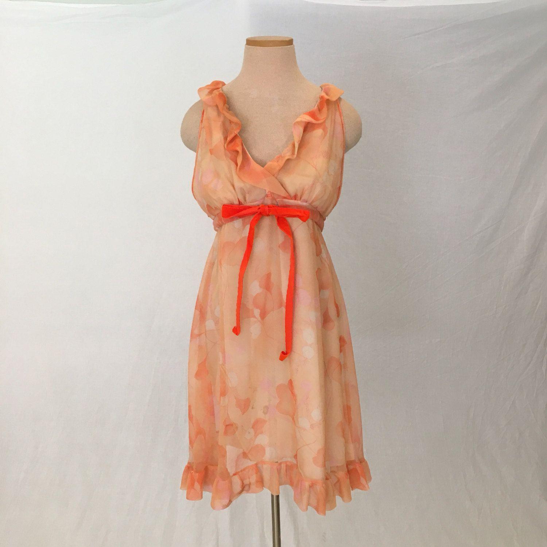 8c964fcbcb0 Vintage chiffon 60s babydoll nightie mod mini dress women L 1960 nightgown  sheer pink negligee boho floral grecian sleeveless empire ruffle by ...