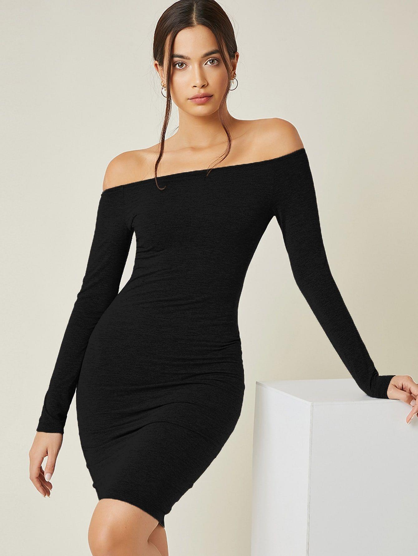 Solid Off Shoulder Bodycon Dress Shein Usa Bodycon Dress Bodycon Dress Formal Womens Trendy Dresses [ 1785 x 1340 Pixel ]
