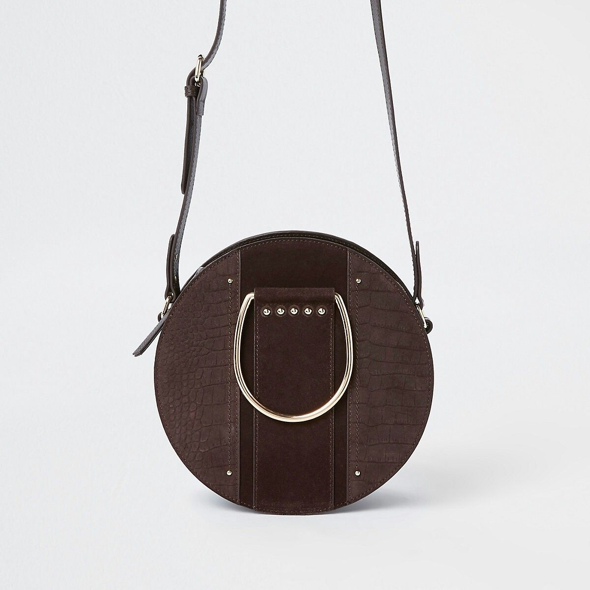 087447c020f Brown croc ring handle circle cross body bag