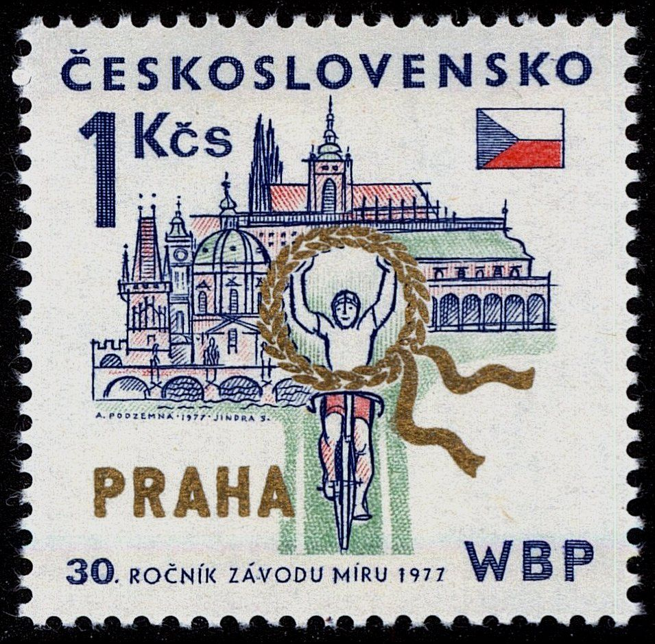 Stamp Cyclists At Prague Czechoslovakia 30th Intl Bicycle