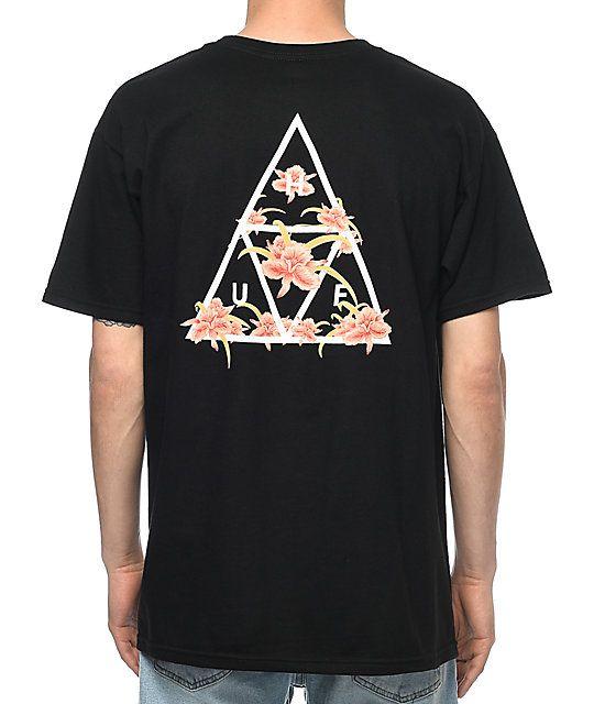 3719dfe4c1688 HUF Triple Triangle Floral Black T-Shirt   ryan   Mens tops, Men, Huf