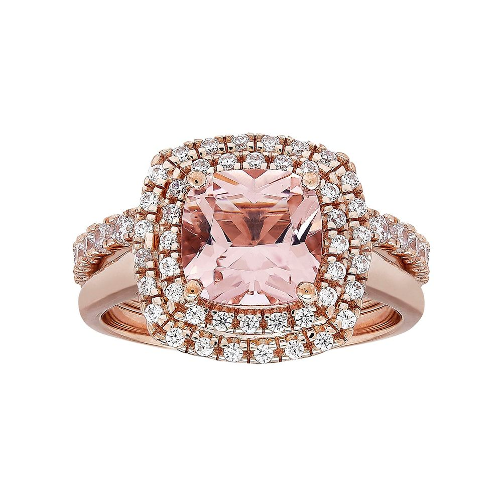 14k Rose Gold Over Silver Simulated Morganite   Cubic Zirconia Ring ... e41992d2f9a1