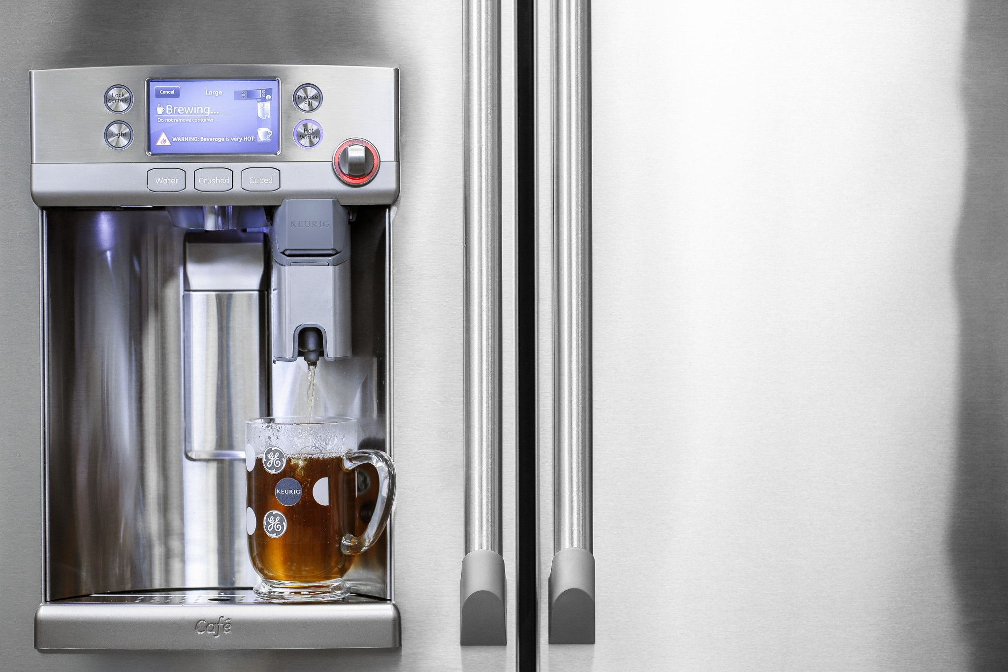 smart appliances Hi tech GE refrigerator wth keurig brewing