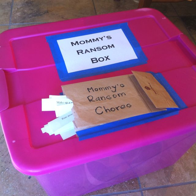 Love this idea. Toys that are not picked up go in the ransom box and they have to pick a chore to complete to earn it back! A great lesson in personal responsibility.