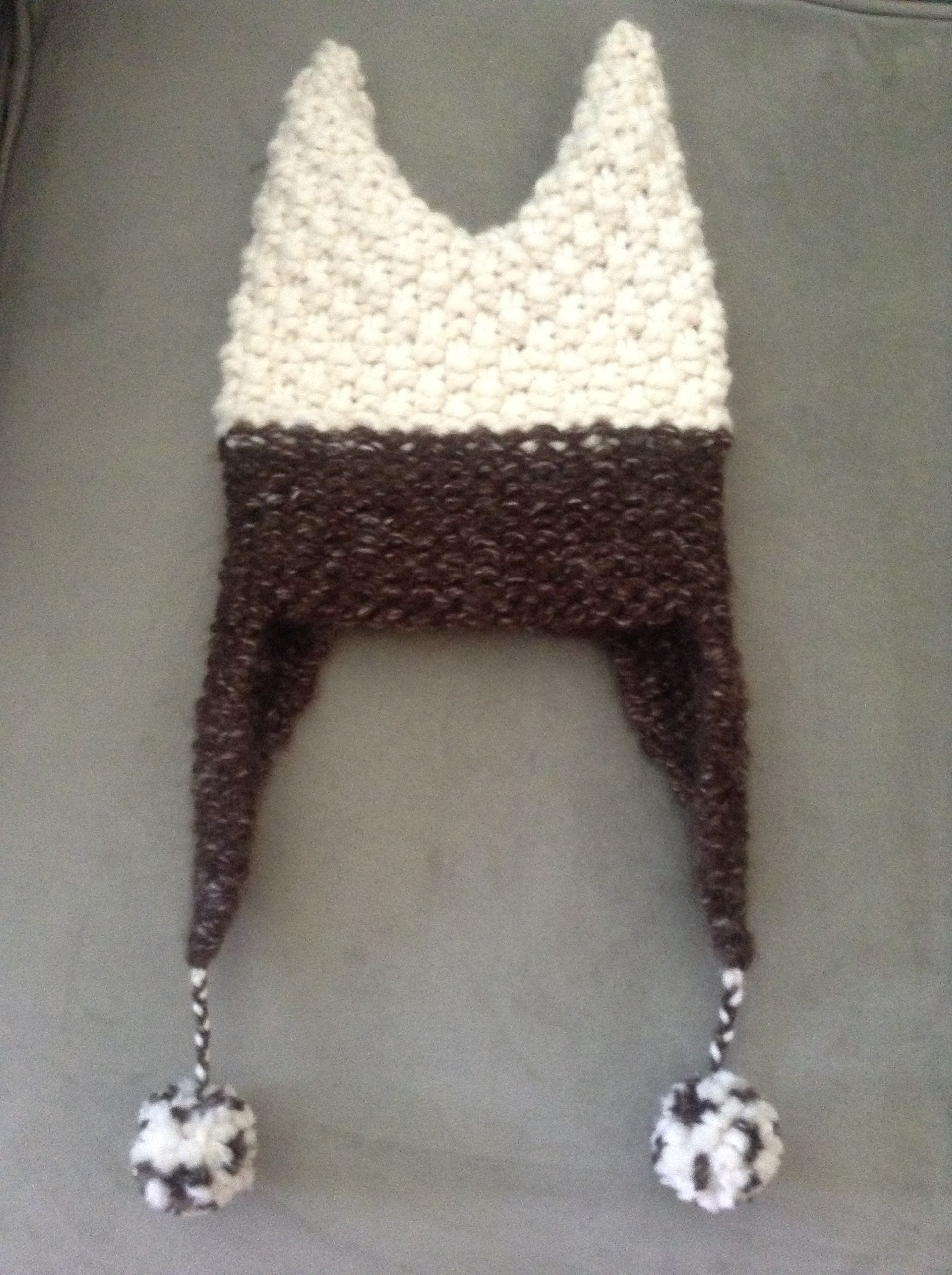 Round loom knit cat ears baby hat--I knitted this for a 13 month old ...