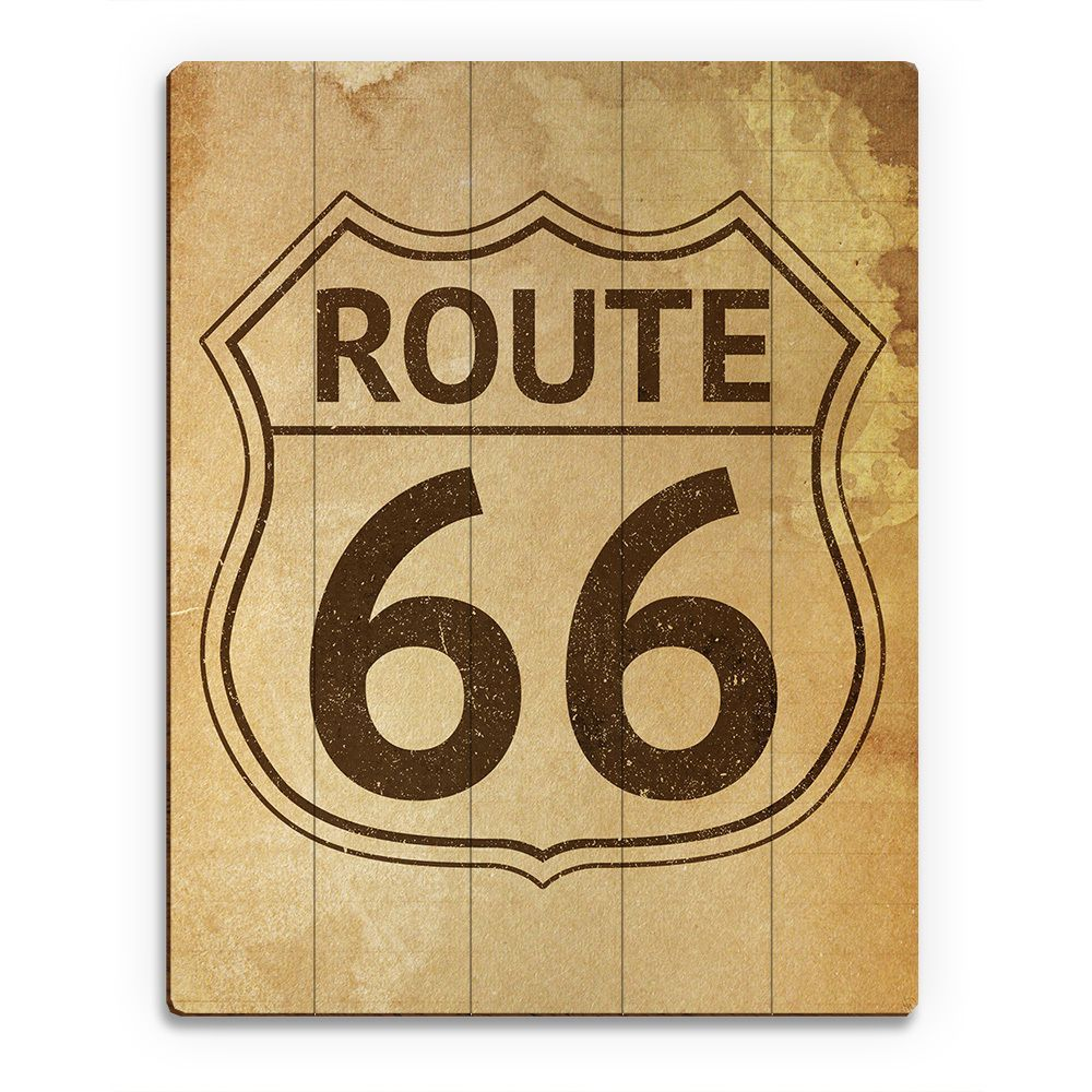 Horizon \'Route 66\' Wood Stained Vintage-style Wall Art   Signs ...