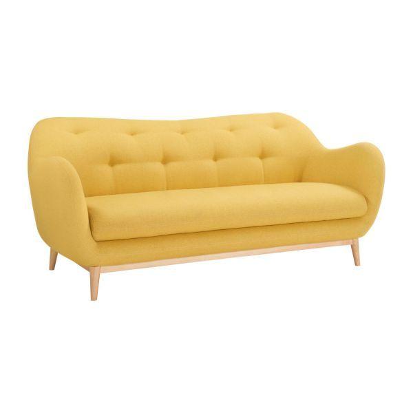 Canapé 2 places en tissu jaune - Habitat   déco maison   Pinterest