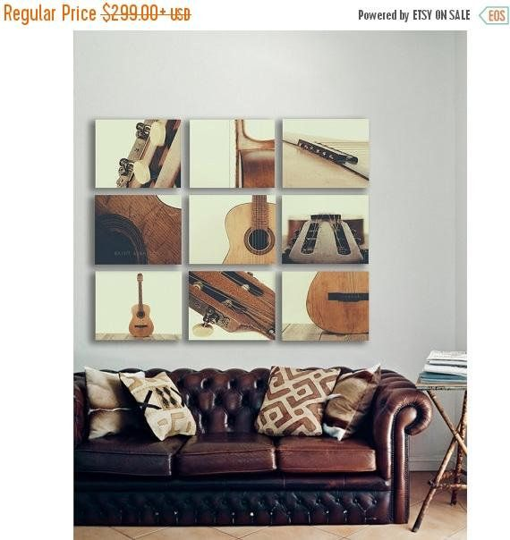 Guitar wall art acoustic guitar parts vintage color tone set of nine stretched canvas prints music theme guitar room music decor guitar wall