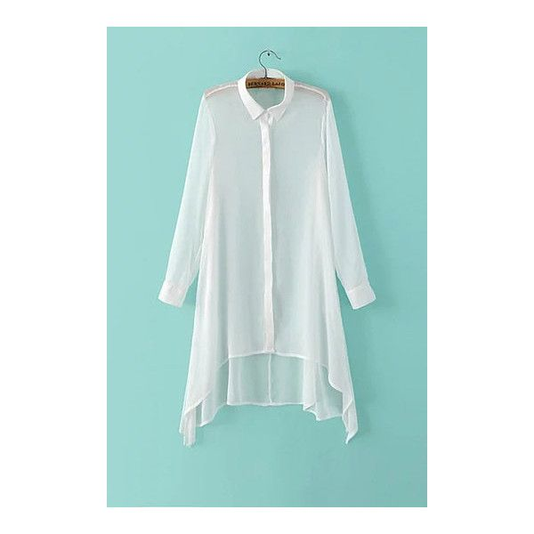Yoins White Casual Long Sleeve Asymmetric Semi Sheer Shirt ($19) ❤ liked on Polyvore featuring tops, see through tops, white sheer top, sheer white shirt, long sleeve tops and long sleeve asymmetrical top