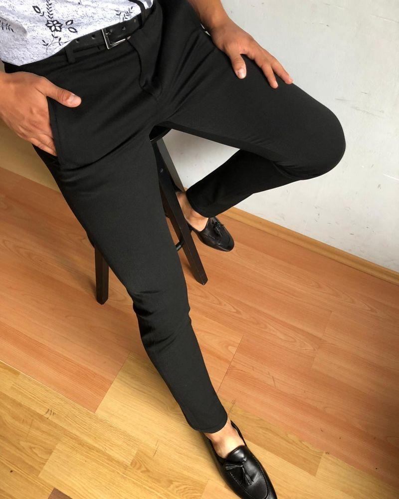 Ozzy Slim Fit Pants Black Gentwith Black Dress Pants Men Black Dress Pants Outfits Slim Fit Pants [ 1000 x 800 Pixel ]