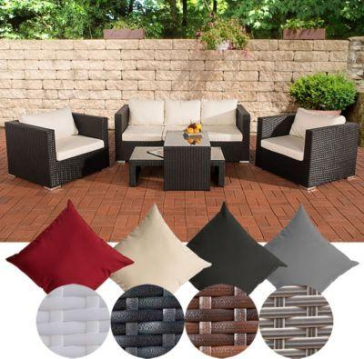 Poly-Rattan Gartenmöbel Lounge Set MALOLO, 5 Sitzplätze 3-1-1, Alu