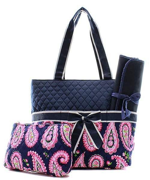 Girls Diaper Bag Monogrammed Diaper Bag Quilted 3pc Set Grey Damask Grey Trim Diaper Bag Personalized Diaper Bag Infants Diaper Bag