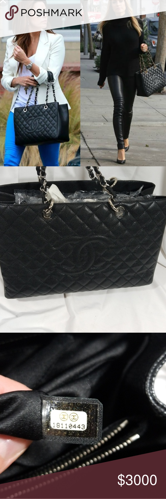 30c8a7493bef Authentic Chanel grand shopper tote in black 100% authentic black caviar  leather Chanel grand shopping tote. Silvertone hardware.