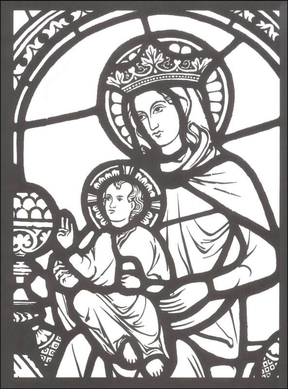 Large stained glass coloring pages cathedral stained glass coloring book additional photo inside
