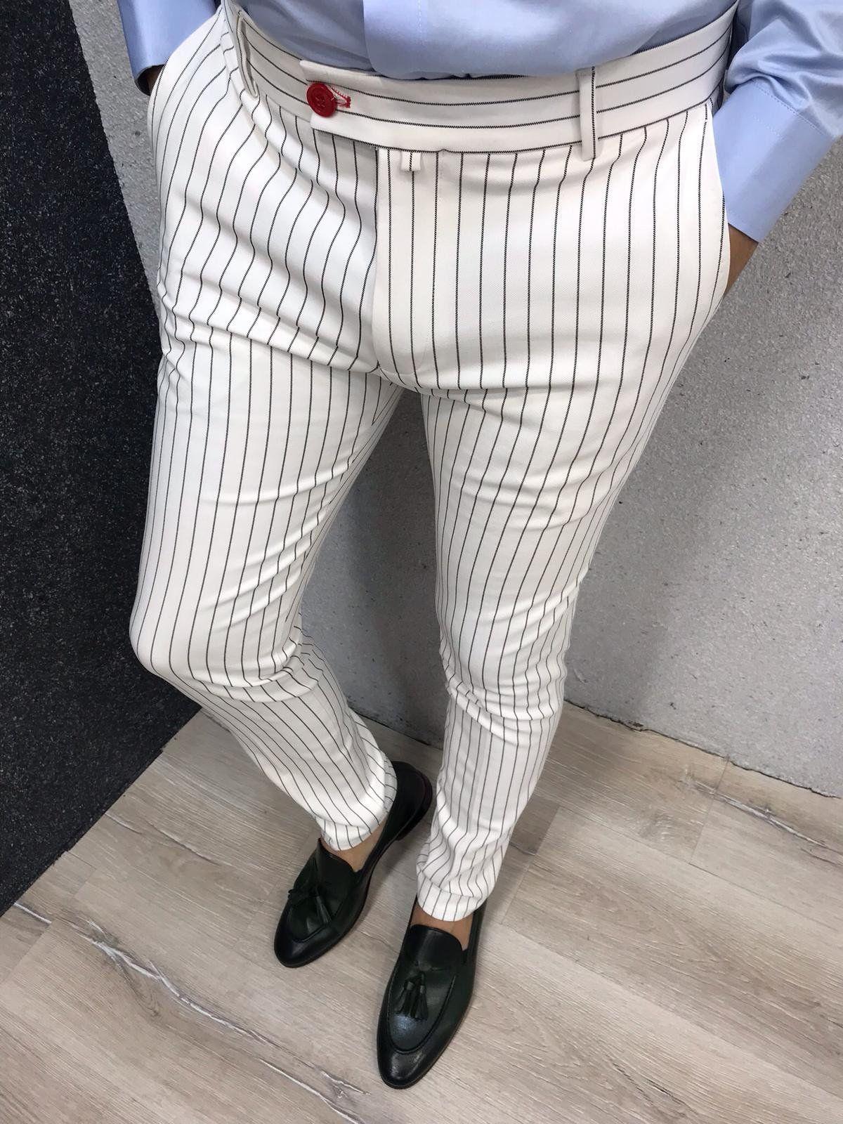 Kingston White Striped Slim Pants Fashion Suits For Men Mens Pants Fashion Mens Fashion Suits [ 1600 x 1200 Pixel ]