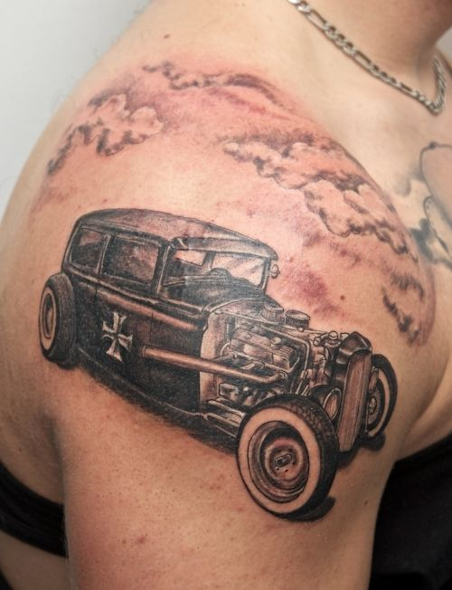 Muscle Car Hot Rod On Shoulder For A Very Cool Tattoo
