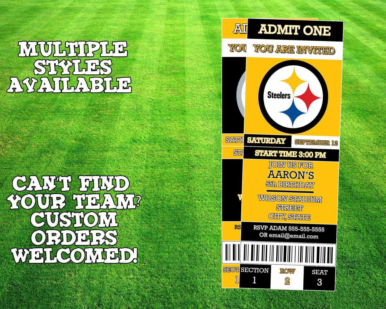 Pittsburgh Steelers Ticket Invitation Ticket Invitation