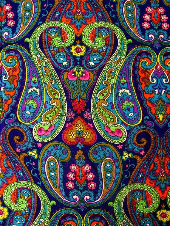 Reserved For Rebecca Vintage Fabric Synthetic Super Bright Paisley