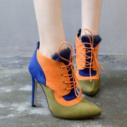 Ankle · Pointed Toe Lace-Up Color Block Ankle Boots · Women's Leather BootsBoots  OnlineBoots ...