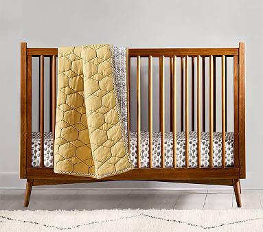 West Elm X Pbk Mid Century Convertible Crib Wooden Baby Crib
