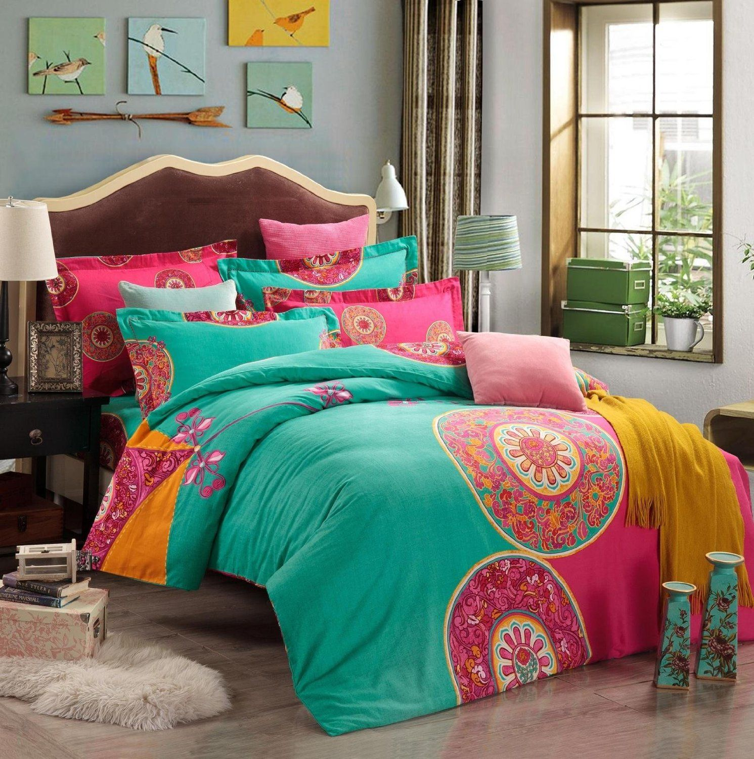 blue sheets and bohemian co purple asli set aetherair quilt bed