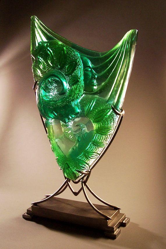 Emerald Art Glass on sale! emerald green cast glass sculpture, table top, art glass