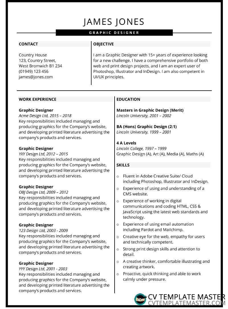 Graphic design CV example CV template with slick headers