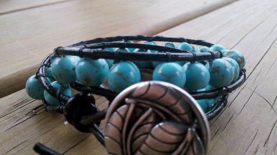 Turquoise leather wrap bracelet by EleanorGraceDesign on Etsy, $31.00