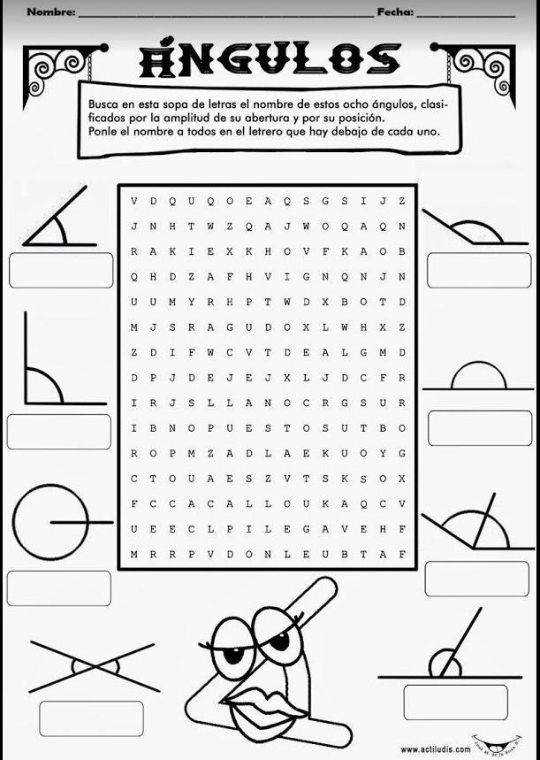 sopa de letras para trabajar los ngulos por su apertura agudo llano