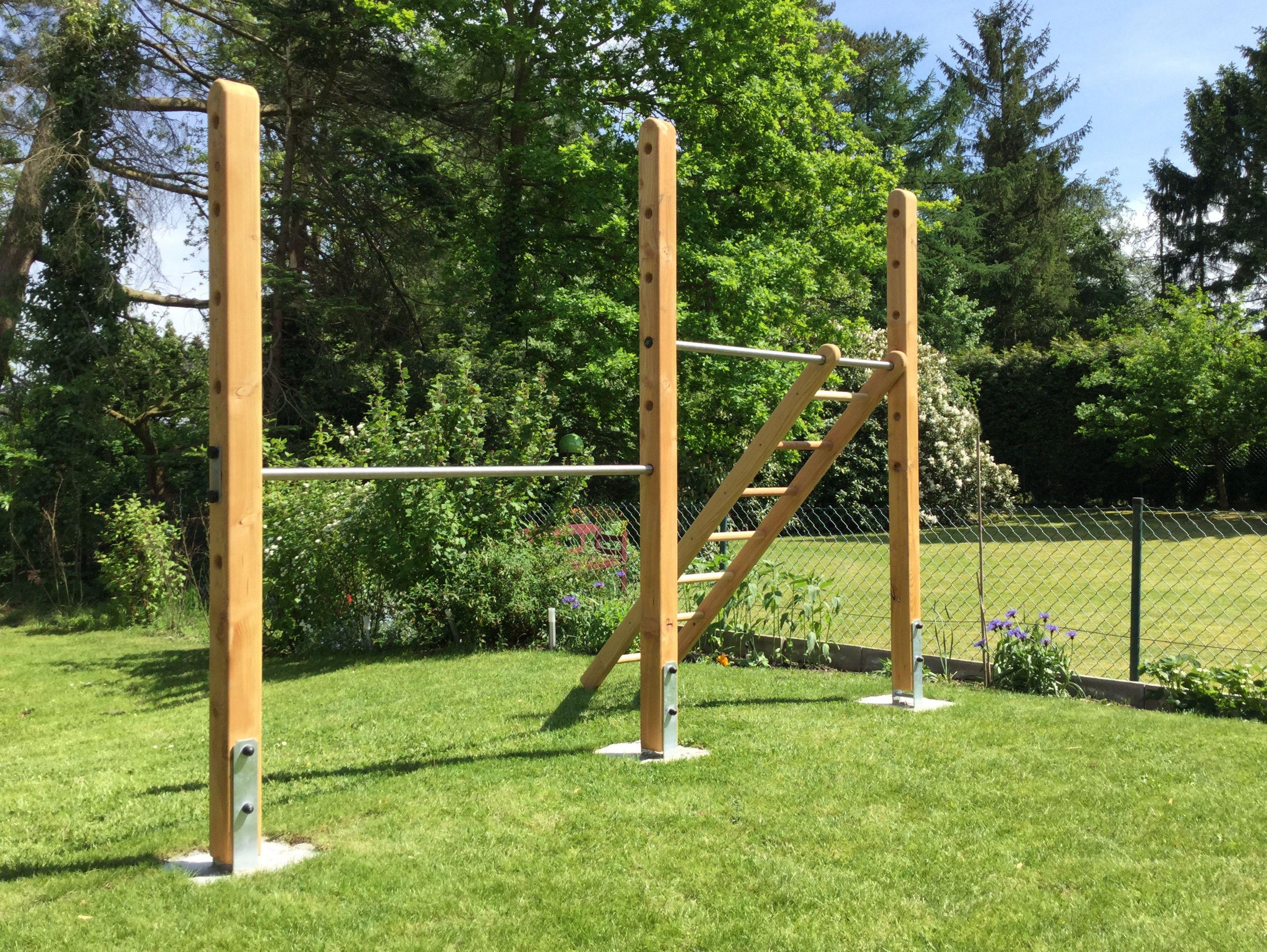 Klettergerüst Erwachsene : Doppel turnreck aus lärchenholz und edelstahl mit verstellbarer