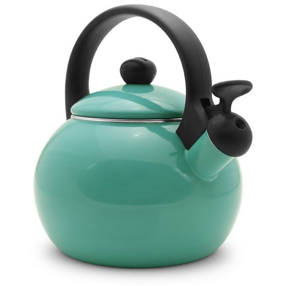 Farberware Nova Kettle Aqua  This is the EXACT kettle in the EXACT color I want! Saw it a few months ago at Grocery Outlet and couldn't find it ANYWHERE online! Just found it in someone's pinterest board!!!! ... but can't purchase it because the site is temporarily down I guess :(