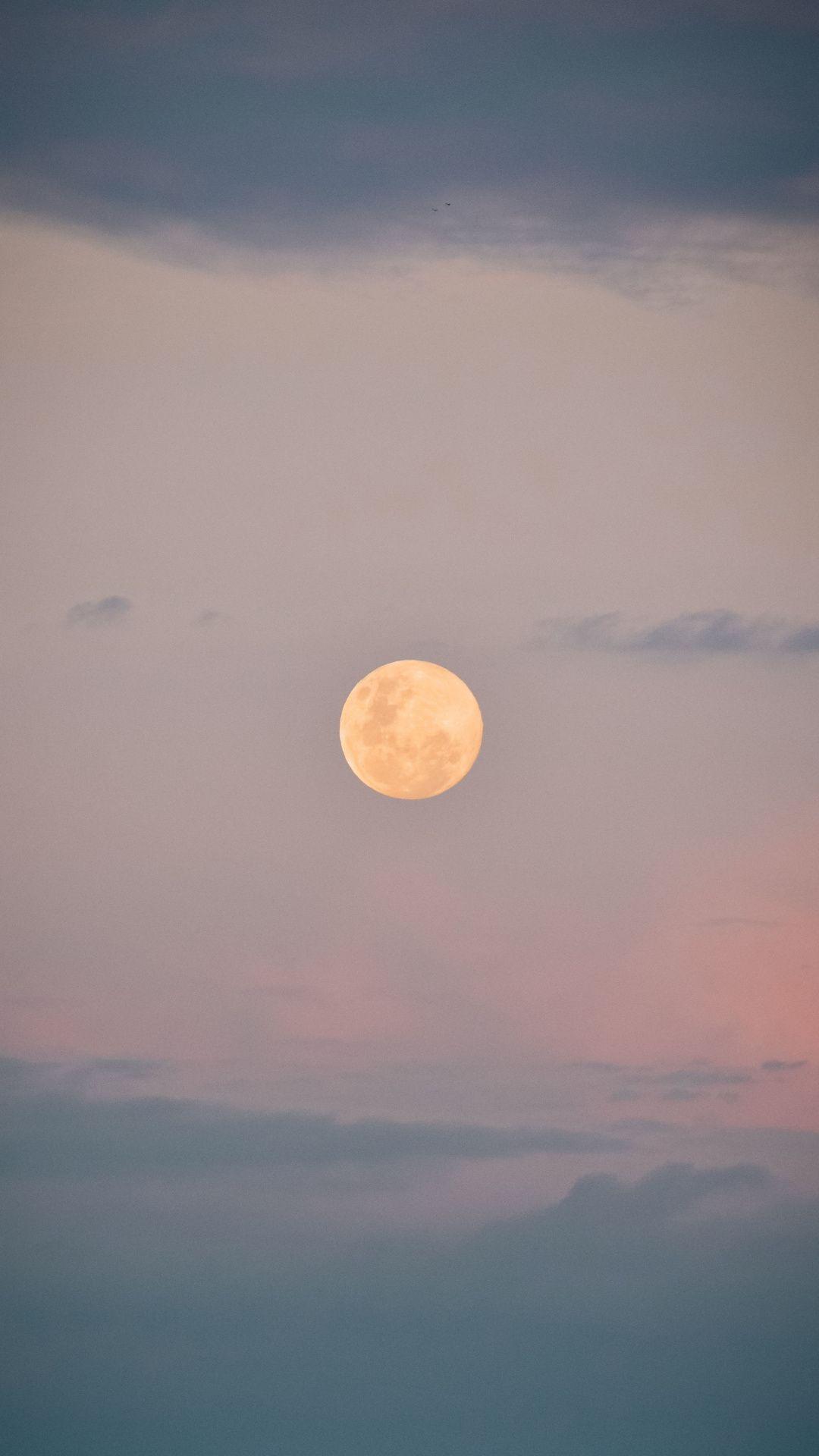 Full moon, sky, clouds, sunrise, 1080x1920 wallpaper