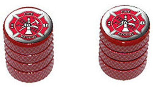 """(2 Count) Cool and Custom """"Diamond Etching Fire Department Logo Top with Easy Grip Texture"""" Tire Wheel Rim Air Valve Stem Dust Cap Seal Made of Genuine Anodized Aluminum Metal {Radiant Dodge Red and White Colors - Hard Metal Internal Threads for Easy Application - Rust Proof - Fits For Most Cars, Trucks, SUV, RV, ATV, UTV, Motorcycle, Bicycles} mySimple Products http://www.amazon.com/dp/B0106Y98R0/ref=cm_sw_r_pi_dp_mhFEwb1473RTE"""