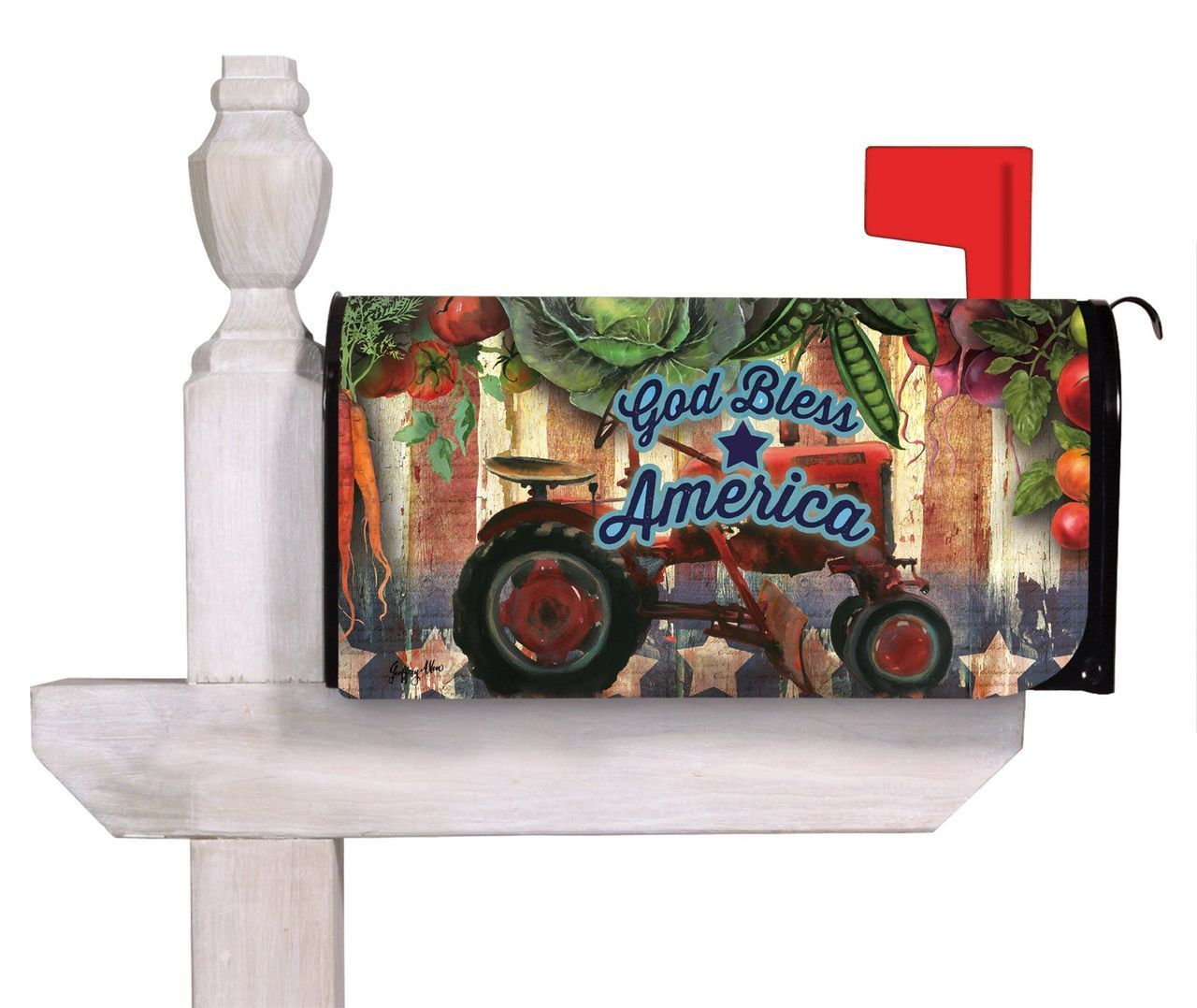 This Patriotic Farming Themed Decorative Mailbox Cover Features A Rustic Americana Flair That Incl Mailbox Covers God Bless America Evergreen Flags