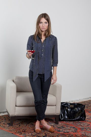 Love the top...would NEVER pay the price for it. Surely JCPenny has a knock off? Emerson Navy Dots Blouse, $188