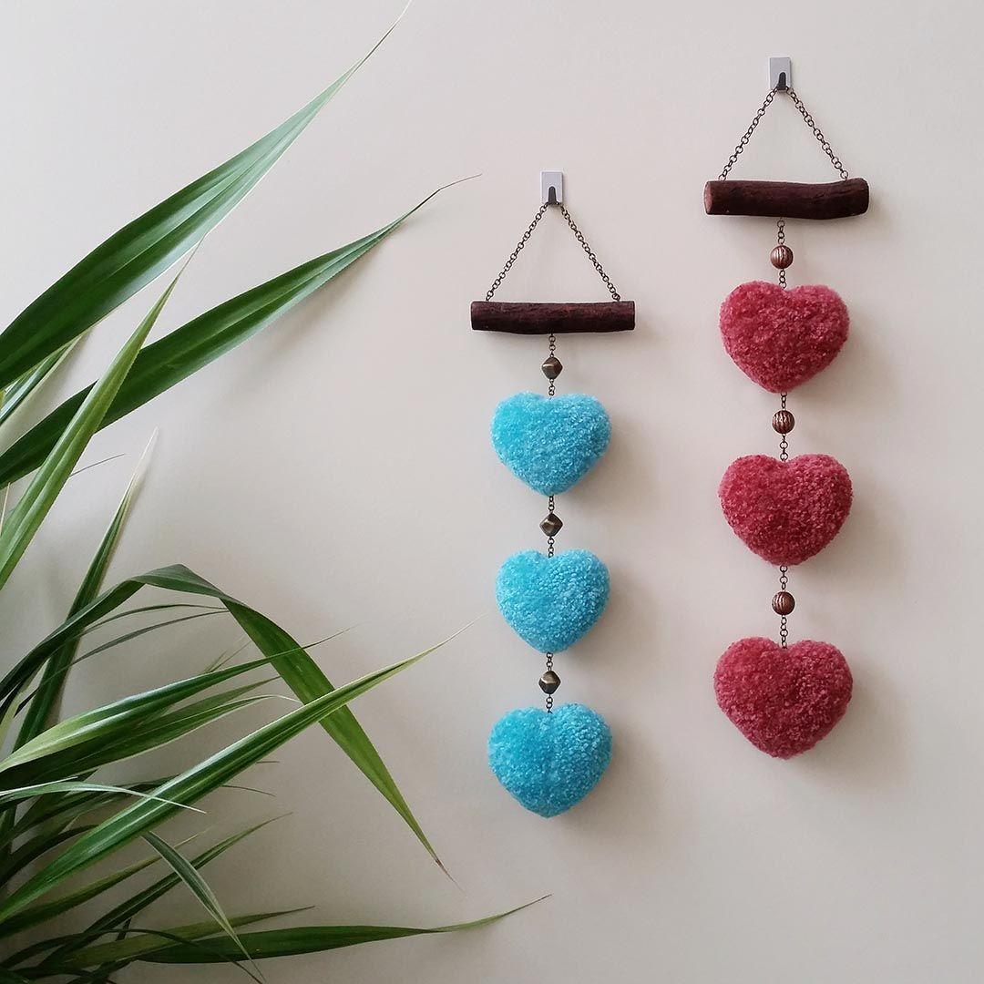 Pompom wall hanging, pompom heart, valentines decor