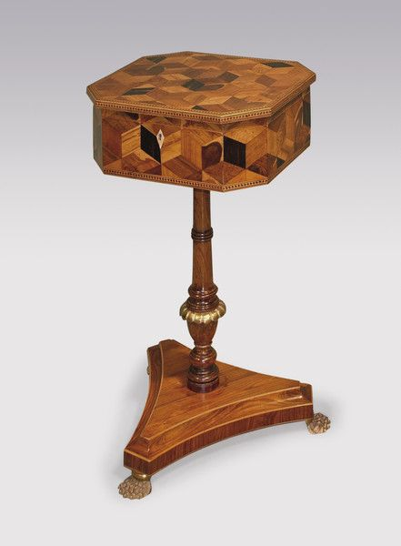 C 1820 Regency Period Parquetry Inlaid Teapoy 19th Century Stuff