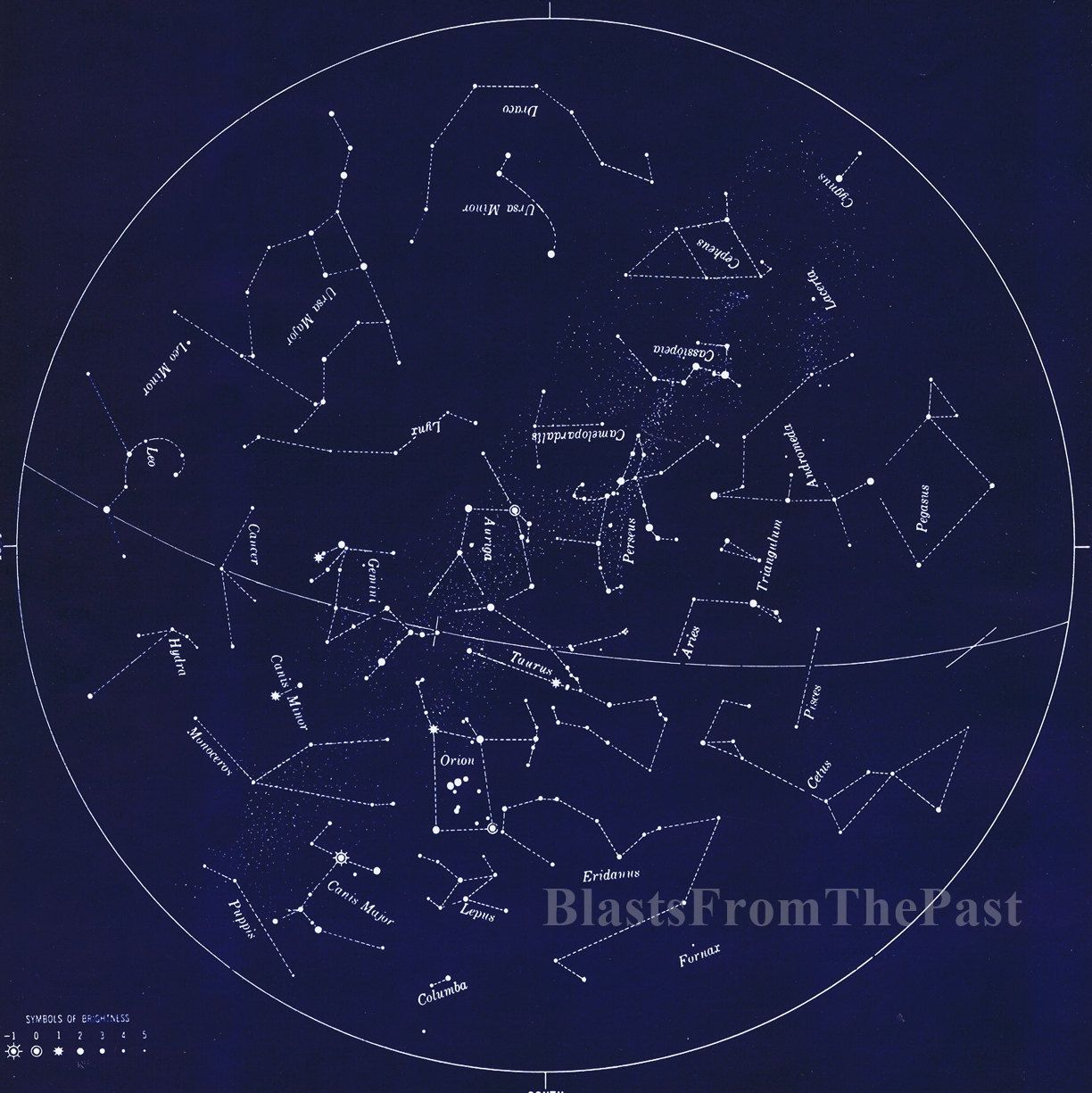 January 1930s Vintage Constellation Lithograph, Astrology