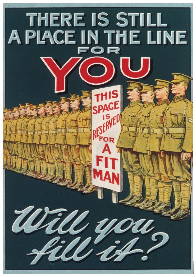 WW1 British propaganda poster. This poster serves to question ...