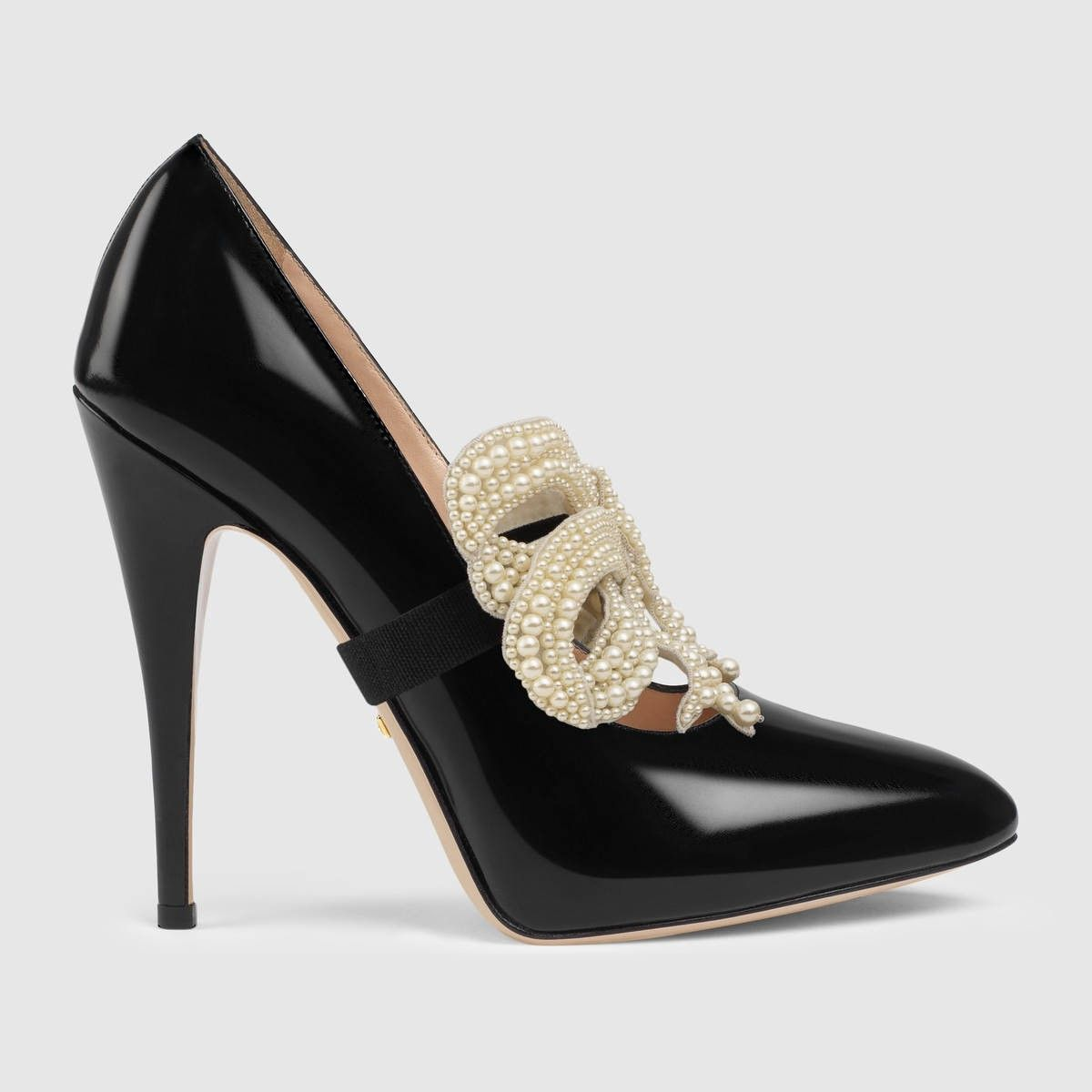 GUCCI Leather Pump With Pearl Bow