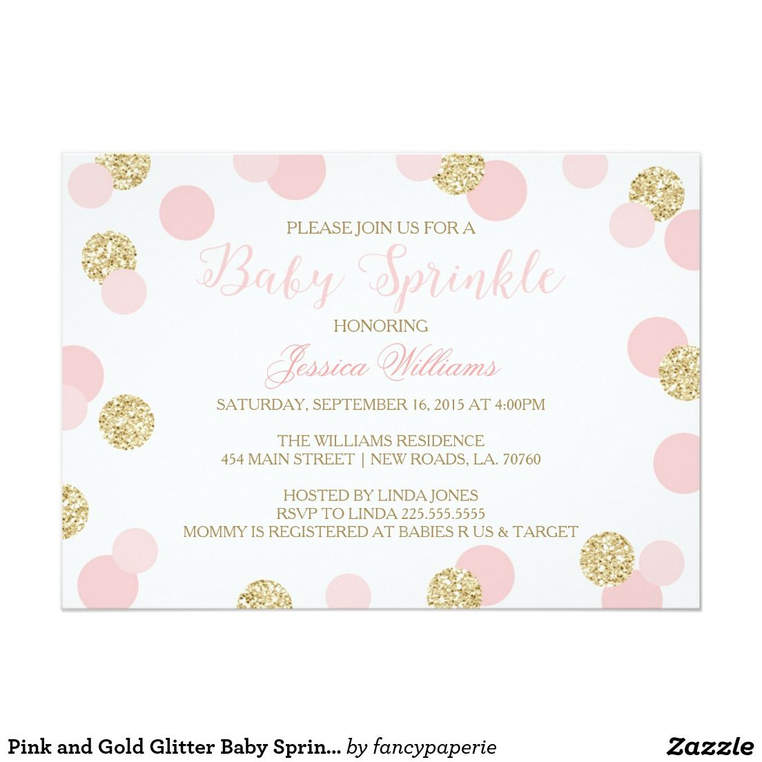 Pink and Gold Glitter Baby Sprinkle Invitations   Baby sprinkle ...