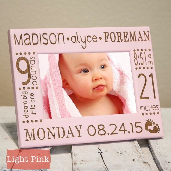 Personalized Baby Picture Frame Birth By Giftedoak On Etsy Crafts