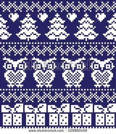 New Year\'s Christmas pattern pixel, card - scandynavian Norwegian ...