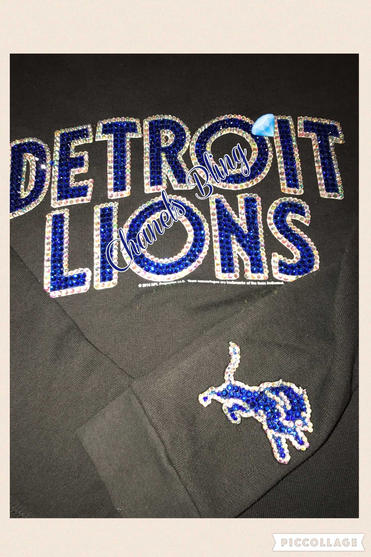 lowest price 54165 de3b0 Custom Bling Detroit Lions Inspired Sweatshirt   Bedazzled ...