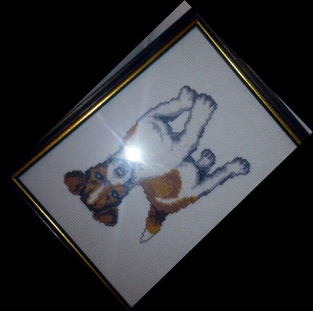 Cross stitch - a Jack Russell terrier.